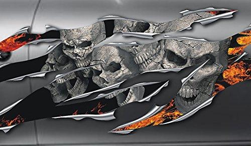 Autoaufkleber, Seitendekor: 3D Metal - Skullz on Fire Totenkopfaufkleber S070-180 cm