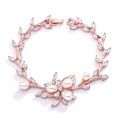 Mariell Luxury Blush Rose Gold Cubic Zirconia Crystal & Genuine Freshwater Pearl Wedding Bridal Bracelet