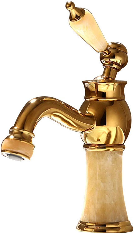 ZTMN Goldene Messing Europischen Stil Jade Hot Cold Basin Wasserhahn Antike Badezimmerschrank Wasserhahn Waschbecken Wasserhahn Multi-Farbe Optional (Farbe  Kolophonium)