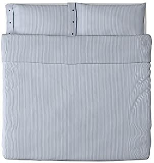 Beautiful White and Blue Striped Pattern Duvet Cover and Pillowcases King Size Ikea Nyponros