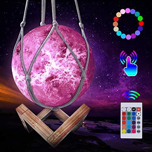 Mond Lampe, LED 3D Wiederaufladbares Venus Lampe, 16 Farben Dimmbare Nachtlicht Lampe Fernbedienung und Touch Steuerung, mit Holzständer und hängendem Netz (15 cm)