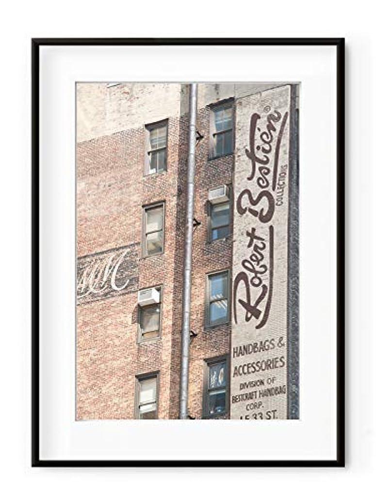 Manhattan Bricks Walls Black Satin Aluminium Frame with Mount, Multicolored, 50x70