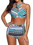 High Waisted Floral Bikini Front Cross Blue Tribal Plus Size Swimwear-KJX005-BE3