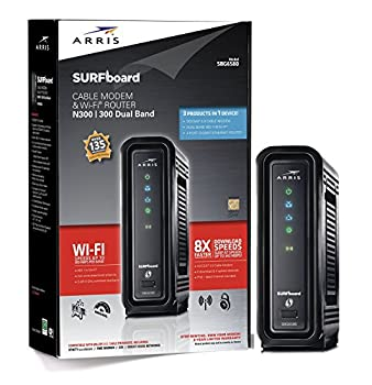 ARRIS SURFboard SBG6580 DOCSIS 3.0 Cable Modem/ Wi-Fi N300 2.4Ghz + N300 5GHz Dual Band Router - Retail Packaging Black  570763-006-00