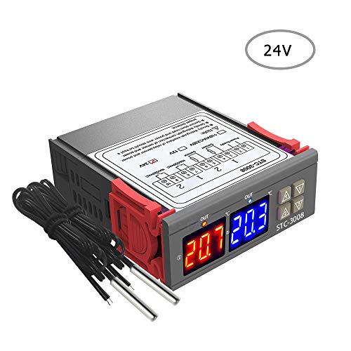 Fesjoy THERMOSTAT for INCUBATOR | Dual Display Thermostat Temperature Regulator Temperature Controller with Double Ntc Probe Heater Sensor Probe Two Relay Output 24V-24V