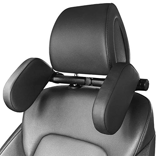 Heapany Car Seat Headrest Pillow, Adjustable Car Seat Head Support Neck Pillow, Memory Foam Vehicle Travel Sleep Pillow Rest Cushion for Kids Adults Elders-Black