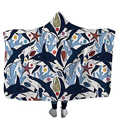SOFTBATFY Blue Shark Plush Throw Blanket Perfect for Couch Sofa or Bed