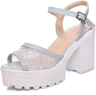 Mesh Sandals Thick Heel Plus Size Women's Shoes