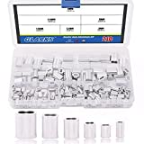 Glarks 210Pcs 6 Size Aluminum Double Barrel Ferrule Crimping Loop Sleeve for Wire Rope and Cable Line End Assortment Kit
