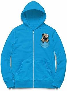 Fox Republic ポケット パグ 犬 オーシャンブルー キッズ パーカー シッパー スウェット トレーナー 150cm