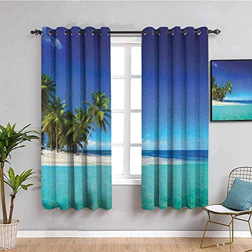 JYDFC Curtains for Bedroom Eyelet - Thermal Insulation Noise Reduction - 3D Digital Printing - Super Soft Thick - Living Room Dining Room Bedroom Guest Room - 104X63 Inch - Blue Sky Plants Beach