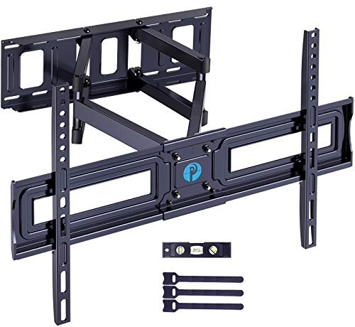 """Full Motion TV Wall Mount Bracket for 37-75 Inch LCD, QLED,OLED 4K Flat Curved TVs, Dual Arms Tilt Extension Swivel Articulating TV Mount, Max VESA 600x400mm up to 132lbs, Fits 16"""" Studs by Pipishell"""