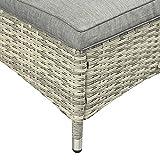 Sonnenliege Gartenliege Tisch 3er-Set Gartenmöbel Polyrattan Metall Grau - 9