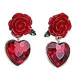 Lizzyoftheflowers - Lizzyoftheflowers Pendientes de rosa roja con corazón de cristal rojo colgante.