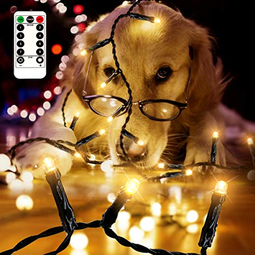 [Remote and Timer] 33FT 100 LED Christmas Lights Battery Operated, Outdoor Christmas Tree String Fairy Lights Green Wire with 8 Modes IP65 Waterproof for Garden, Party, Wedding Decoration (Warm White)
