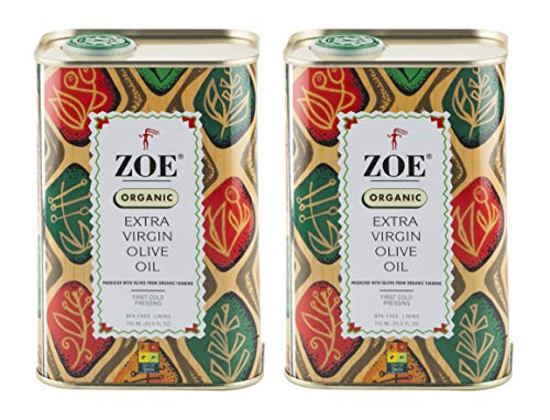ZOE Organic Extra Virgin Olive Oil, 25.5 oz Tin (Pack Of 2)