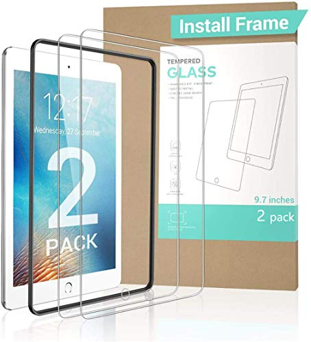 【2 PACK Gift INSTALL FRAME】New iPad 9.7' 6th Generation Screen Protector (2018&2017) , Tempered Glass iPad Air 2 Screen Protector for iPad Pro 9.7/ iPad Air -iPad Pencil Compatible with HD/Anti-scratch