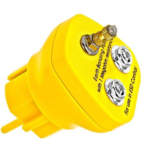 Minadax® Erdungsbaustein - EBP - Innovativer ESD-Schutz - Antistatik Erdungsstecker Schutzkontaktstecker - 1 x M5 Ösenanschluss und 2 x Druckknopfbuchse - 1 Megaohm Sicherheitswiderstand