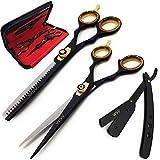 WorldShopVille | Ensemble de ciseaux de coiffure/ciseaux de coiffure/salon de coiffure comprenant des ciseaux à effiler / texturer + rasoir droit et peigne avec étui professionnel noir