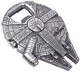 Han Solo 's Millennium Halke - Abrebotellas con llavero, aspecto de acero inoxidable, 60 x 48 mm, divertido regalo para fans de Star Wars