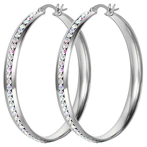 Oidea Orecchini cerchi in acciaio inossidabile per donna grandi orecchie anelli mosaico strass argento(1 coppia)