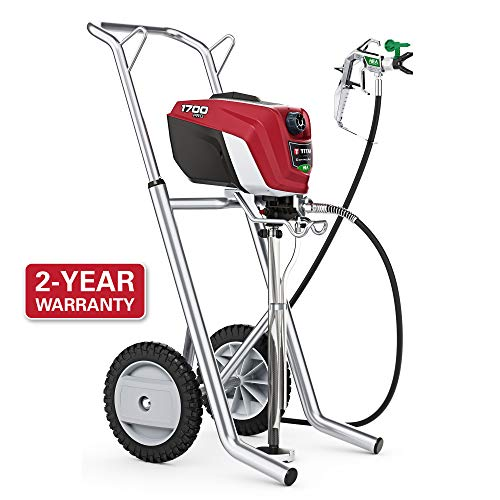 Titan ControlMax 1700 Pro 580006 w/ Cart High Efficiency Airless Paint Sprayer, HEA technology decreases overspray by up to 55% while delivering softer spray