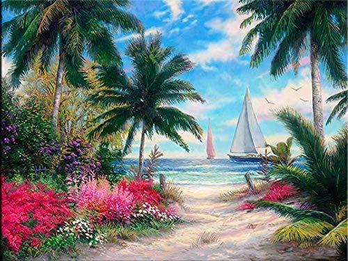 Pintura por números Pintura de Lona,Árbol de Coco Junto al mar 40x50cm,Kit de Pintura por números en Lienzo para Principiantes Decoración para Hogar Regalo