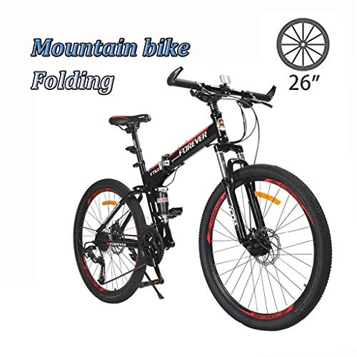 Adult Mountain Bike, 26 Inch Wheels, Mountain Trail Bike High Carbon Steel Folding Outroad Bicycles, 24-Speed Bicycle Full Suspension MTB ​​Gears Dual Disc Brakes Mountain Bicycle (Color : White)
