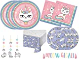 Kitty Cat Unicorn Girls Birthday Party Supplies Pack Includes Plates Napkins and Decorations for 24