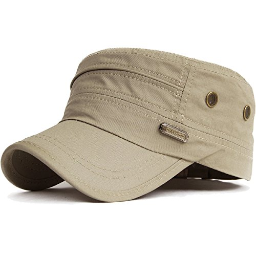 Kuyou Unisex Army Military Flat Cap Vintage Cotton Baseballmütze Kappe (003Beige)