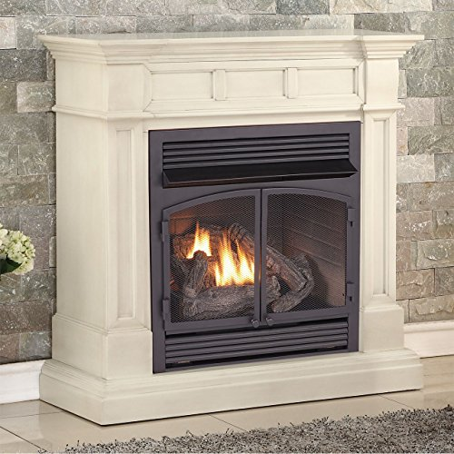 Duluth Forge FDF400RT-ZC Dual Fuel Ventless Fireplace-32,000 BTU, Remote Control, Antique White
