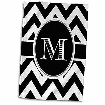 3D Rose Black and White Chevron Monogram Initial M Hand Towel 15  x 22  Multicolor