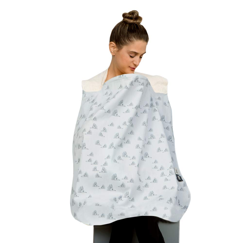 SIMPLY GOOD Simply Good Nursing Cover Duo for Breastfeeding with 2 Removable Burp Cloths Privacy Baby Nursing Poncho /& Scarf for Women Grey Eyes on White