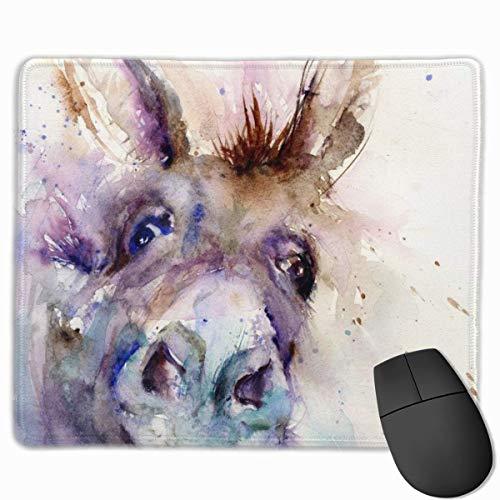 Gemälde Esel Anti-Rutsch Einzigartige Designs Gaming Mauspad Schwarzes Stoff Rechteck Mousepad Art Naturkautschuk Mausmatte mit genähten Kanten