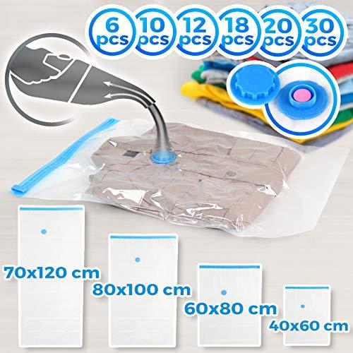 Jago Vakuumbeutel Set - 70x120 cm, 80x100 cm, 60x80 cm, 40x60 cm, platzsparend, transparent, Setwahl und Größenwahl - Aufbewahrungsbeutel, Kleiderbeutel, Vakuumtüte für Kleidung, Reise (20er)