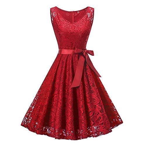 MIRRAY Damen Vintage Ärmellose Kleid Kleider Formale Hochzeit Brautjungfer Spitze Lange Spitzenkleid (Y-Weinrot,X-Large/EU38)