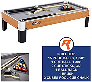 "Rally and Roar Tabletop Pool Table Set and Accessories, 40"" x 20"" x 9"" - Mini, Travel-Size Billiard Tables, Balls, Cues, and Rack - Fun, Portable Family Games for Family, Parties, Camping, Road Trips"