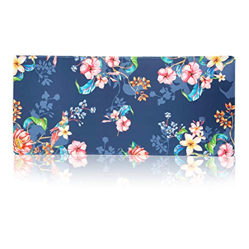 Extended Game Mouse pad - Slip-Proof Rubber Computer Keyboard Mouse pad, 35.1 x 15.75 inches (About 90 x 40 cm) 3mm -Tropical Flowers