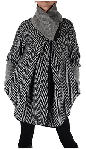 Italy Donna Damen Lagenlook Wolle Strickjacke Jacke Blazer Winter Übergang Pullover 36 38 40 42 44 S M L XL Schwarz Grau Ballon kurz Mantel (44)