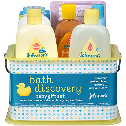 Johnson's Bath Discovery Gift Set For Parents-To-Be, Caddy With Bath Essentials, 8 Items