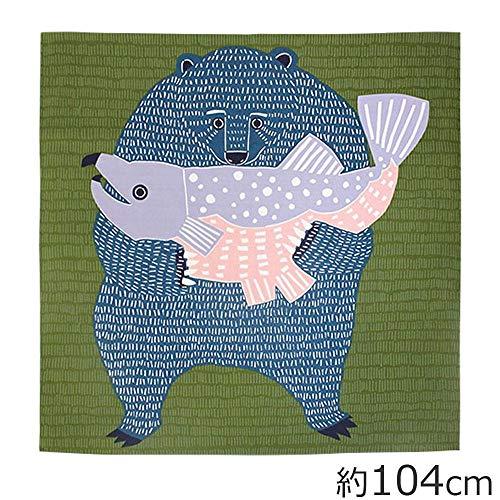 山田繊維 風呂敷(ふろしき) 104 kata kata むすび くまとさけ グリーン 20012-301 PP袋入