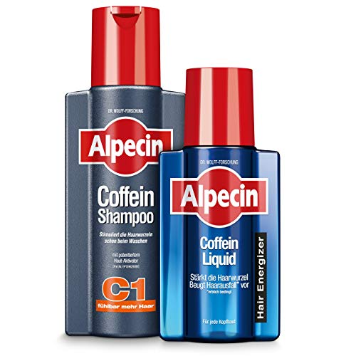 Alpecin Coffein-Shampoo C1 + Alpecin Coffein Liquid im Set – Das Hair-Energizer-Set gegen erblich bedingten Haarausfall bei Männern – 1 x 250 ml + 1 x 200 ml…