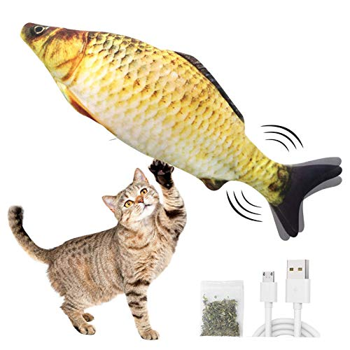 Electric Moving Fish Cat Toy Realistic Electric Doll Fish Electric Wagging Fish Cat Toy Funny Interactive Pets Chew Bite Supplies for Cat Kitty Kitten  Perfect for Biting Chewing and Kicking