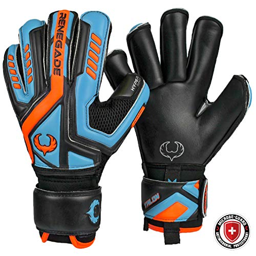 Renegade GK Talon Cyclone 2 XD (Xtra Durable) Goalie Gloves with Finger Savers & MICROBE-GUARD | 4mm Hyper Grip XD | Black Blue Football Goalkeeper Gloves (Size 8, Youth-Adult, Roll Cut, Level 2)