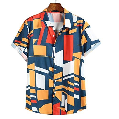 Shirt for Men, SFE Mens Contrast Color Geometric Printed Turn Down Collar Short Sleeve Loose Shirts Blue