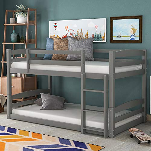 Merax Solid Wood Bunk Bed, No Box Spring Needed, Twin Over Twin, Gray