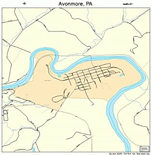 Large Street & Road Map of Avonmore, Pennsylvania PA - Printed poster size wall atlas of your home town