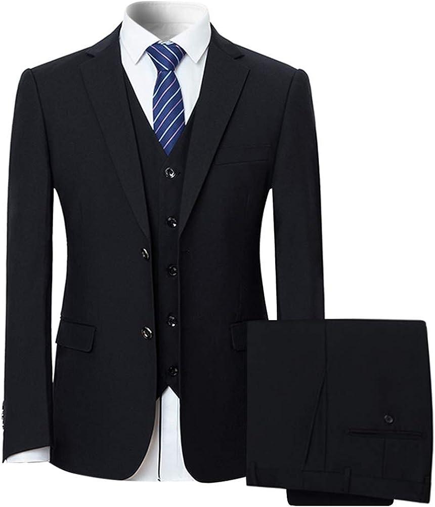 Mens Notched Lapel Suit Solid Color Formal Business 2 Button 3-Piece Suit Set