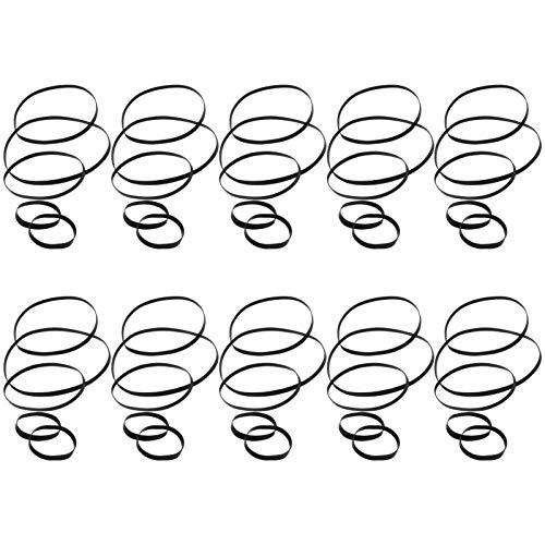 HEALLILY Keilriemen für Kassettenriemen, aus Gummi, für Recorder, 50-teilig, für Plattenspieler mit Ersatzriemen (4-13,5 cm), Schwarz