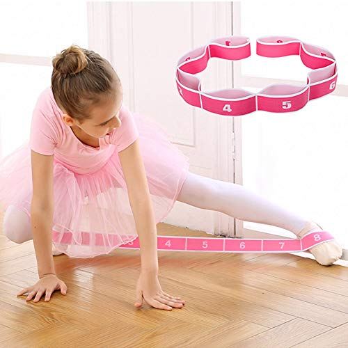 Kids Stretch Strap - Leg Stretch Band to Improve Flexibility - Stretching Out Yoga Strap - Exercise and Physical Therapy Belt for Rehab, Pilates, Dance and Gymnastics with Workout Guide Book